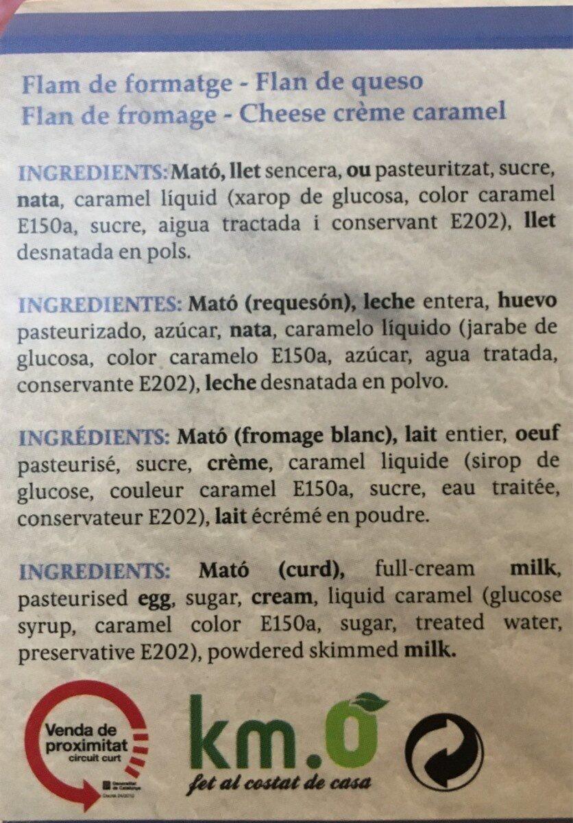 Flan de queso - Información nutricional