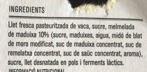 Iogurt Maduixa - Ingredientes