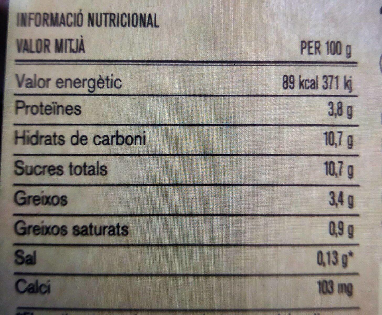 Iogurt Llimona - Información nutricional