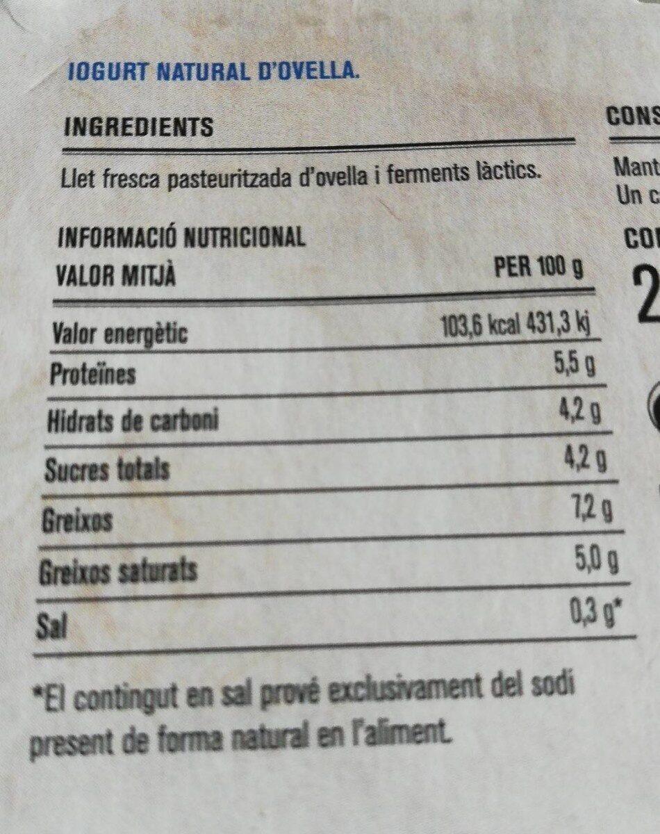 Iogurt d'ovella - Información nutricional