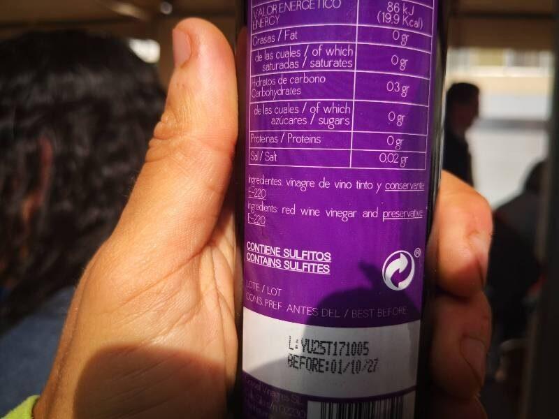 Vinagre de vino tinto - Ingredients
