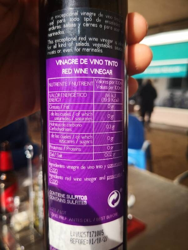 Vinagre de vino tinto - Informació nutricional