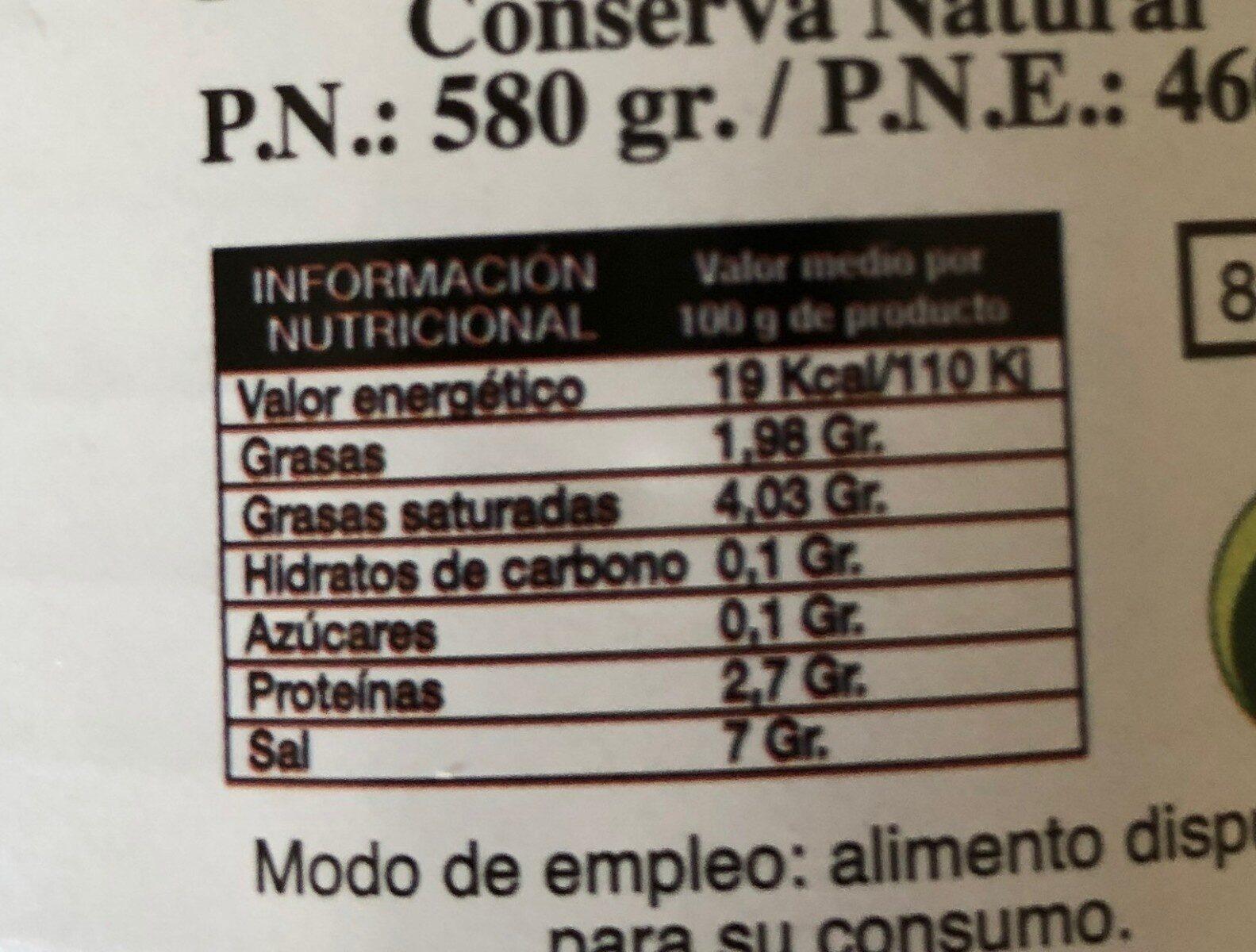 Grelos al natural - Información nutricional - es