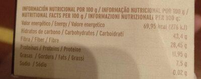 Seta de cardo - Nutrition facts