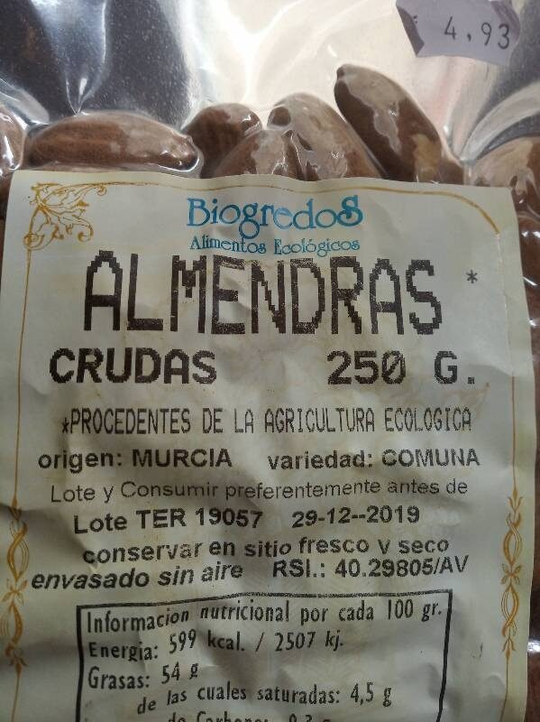 Almendras crudas - Ingrediënten