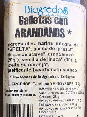 Galletas con arándanos - Ingredients