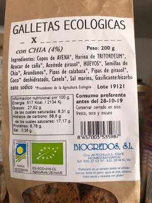 Galletas ecológicas con Chía - Producte - es