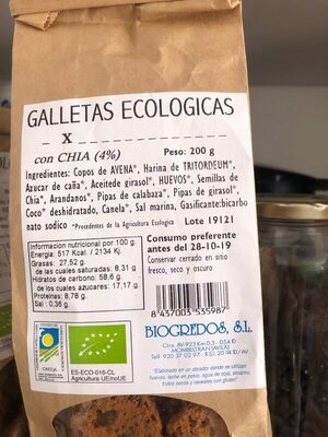 Galletas ecológicas con Chía - Ingredients - es