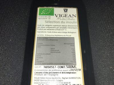 Huile D'olive Extra Vierge Biologique - Ingrédients