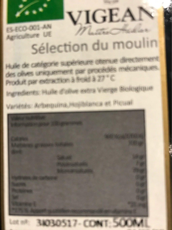 Huile D'olive Extra Vierge Biologique - Informations nutritionnelles