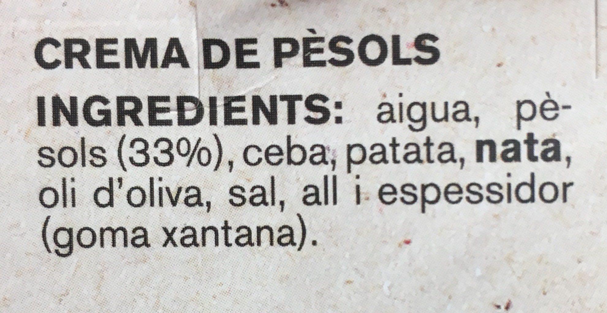 Cremes de Temporada - Pèsols - Ingrediënten