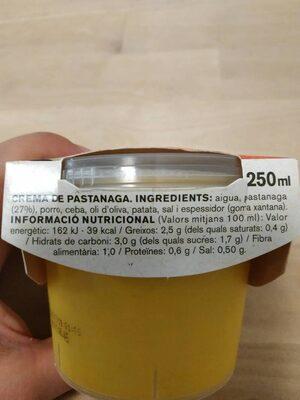 Crema de zanahoria con verduras frescas - Ingrediënten