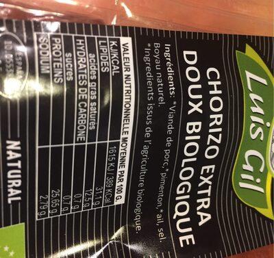 Chorizo Extra Doux Biologique - Valori nutrizionali - fr