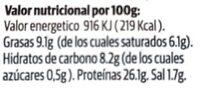 Chorizo vegetal - Voedingswaarden - es