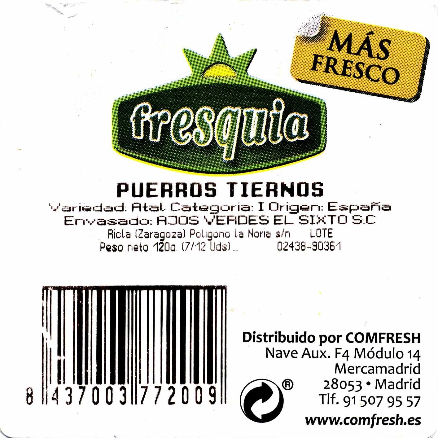 Puerros tiernos - Ingredients