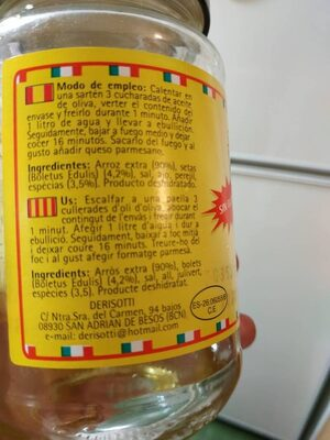 Rissoto Funghi Porcini - Ingredientes - es
