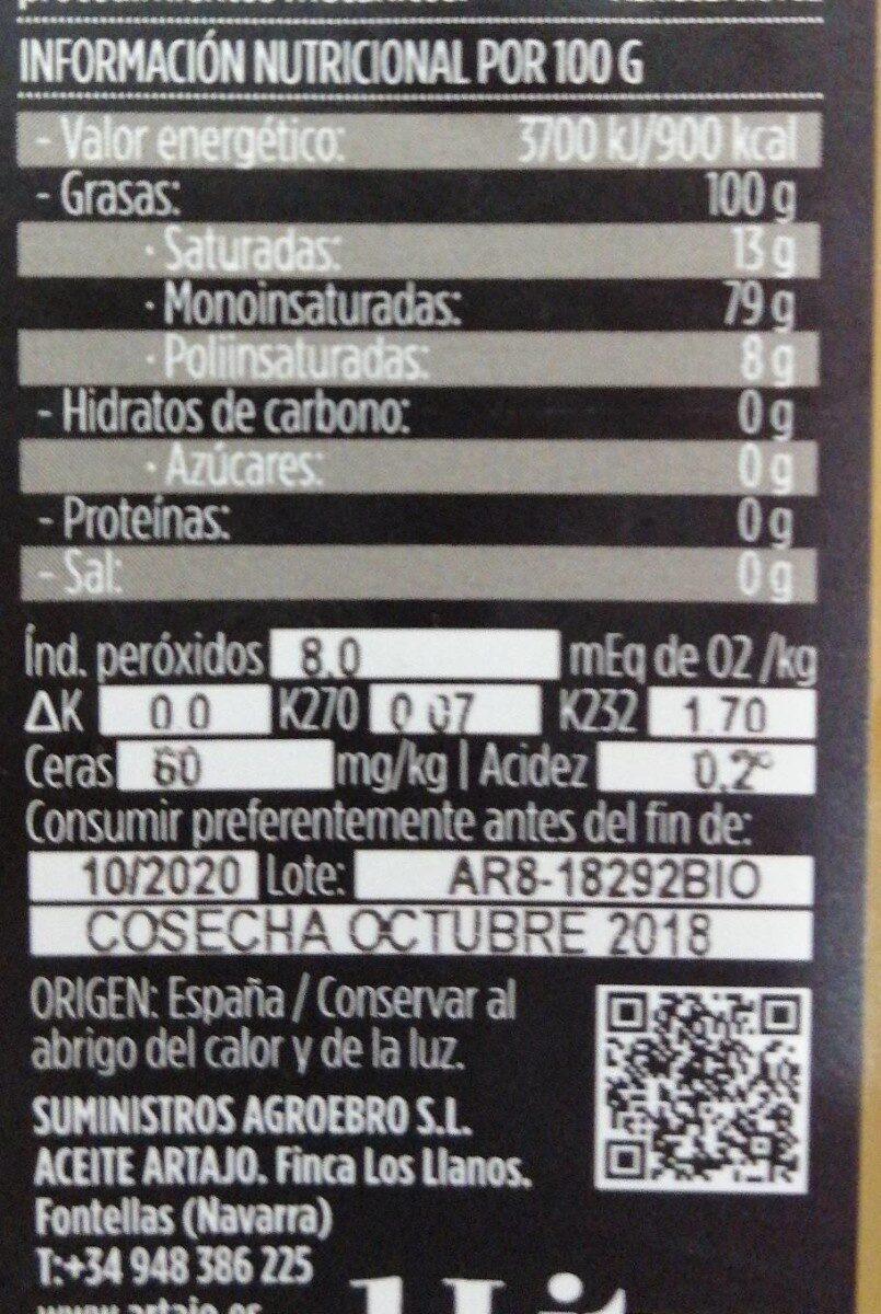 Aceite oliva virgen - Nutrition facts - es