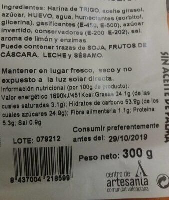 Torta de bizcocho casera de limón - Informations nutritionnelles - es