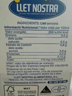Llet Sencera - Ingredientes - es