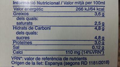 Llet Nostra Entera 1 Litre Brick C / 6 - Información nutricional - fr