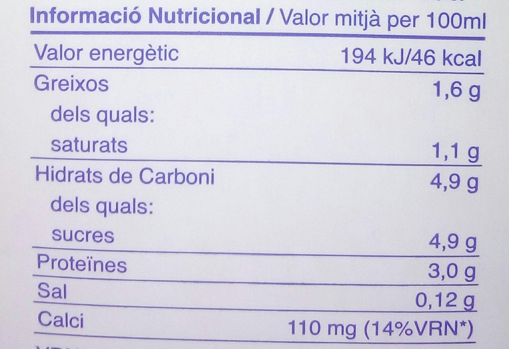 Llet Semi Desnatada Nostra - Nutrition facts - ca