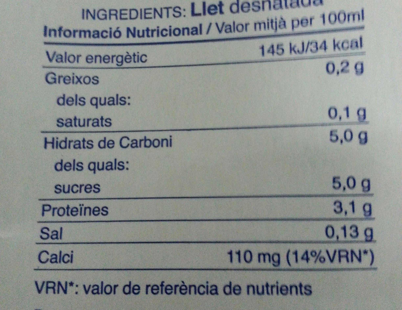 Llet Nostra Desnatada 1 Litre Brick C / 6 - Nutrition facts - en