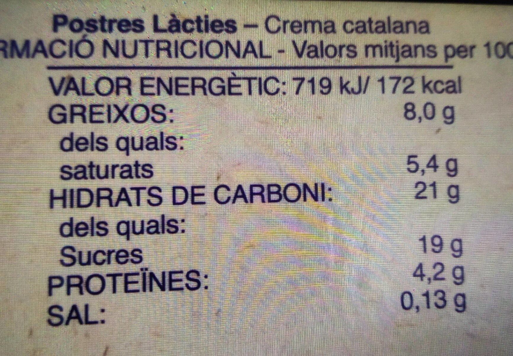 Crema Catalana - Nutrition facts - en