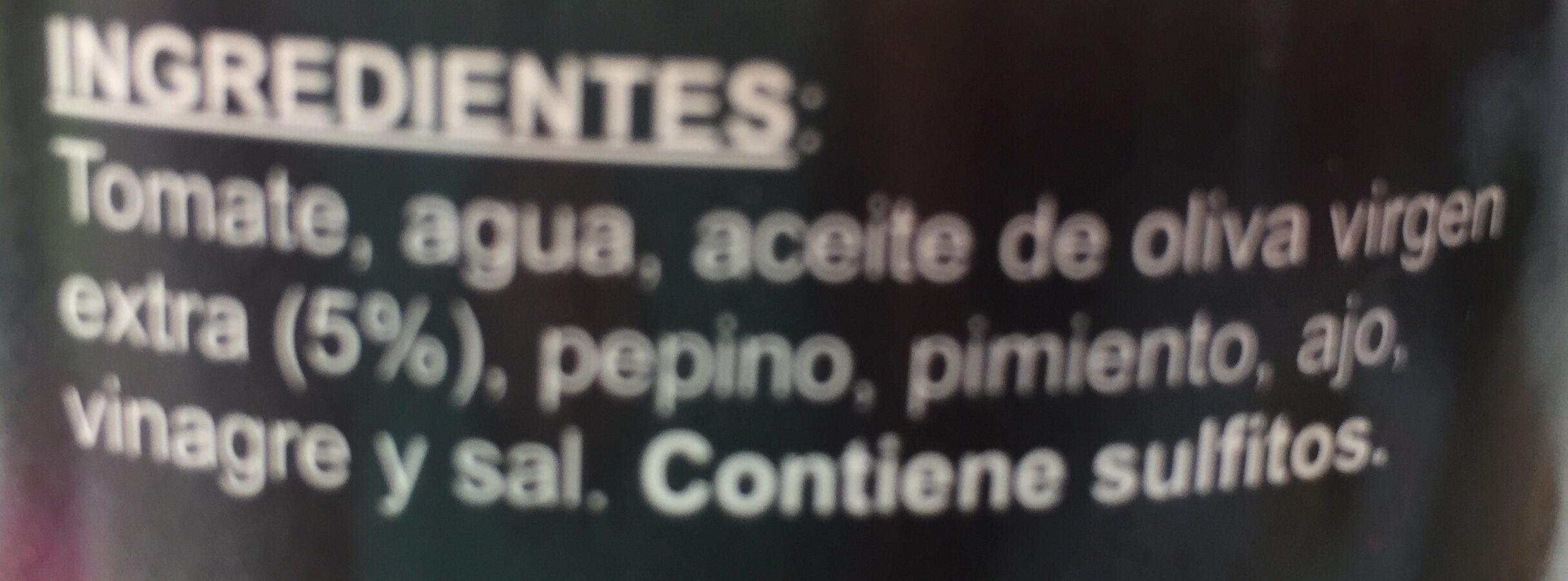 Gazpacho Fresco - Ingredientes - es