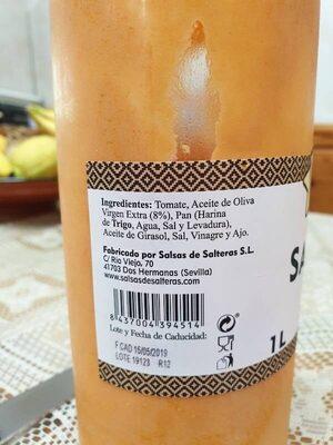 Salmorejo fresco no pasteurizado con aceite de oliva virgen extra botella 1 l - Ingredientes - es