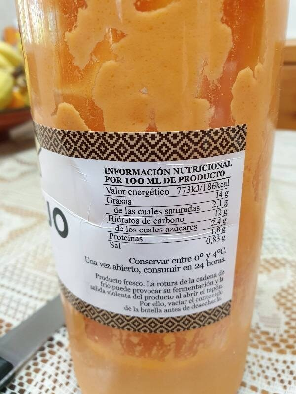 Salmorejo fresco no pasteurizado con aceite de oliva virgen extra botella 1 l - Información nutricional - es