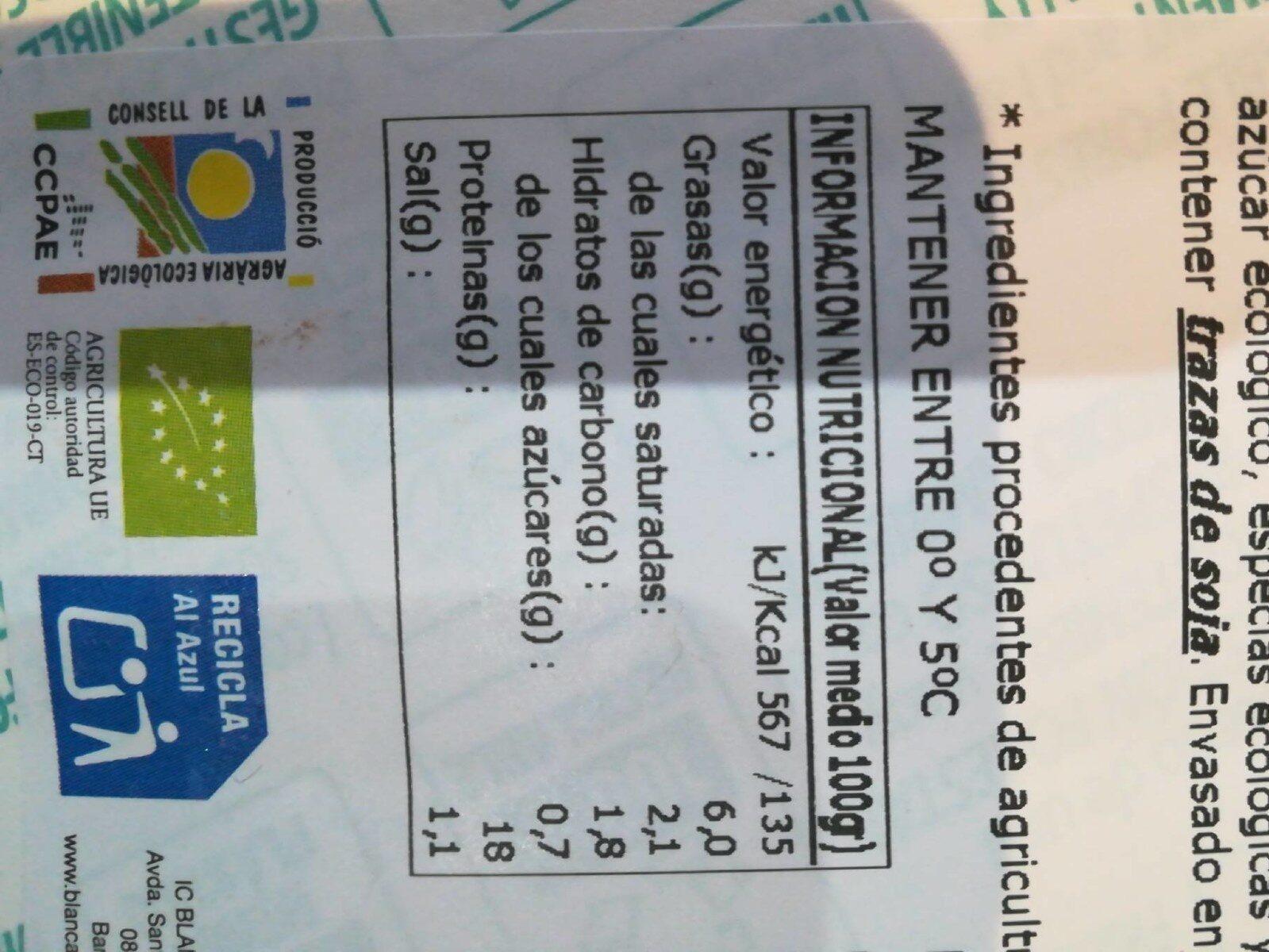Bio organic jamón cocido ecológico sin gluten sin lactosa - Informació nutricional - fr