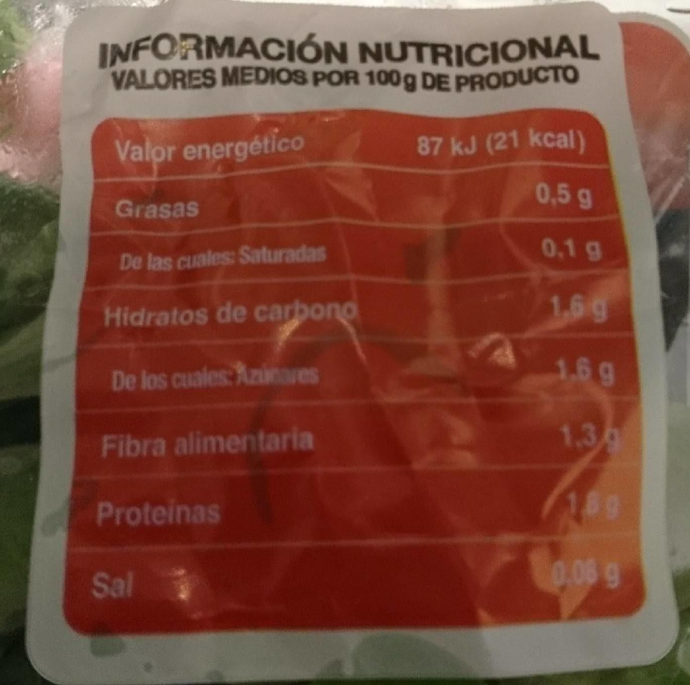 Canónigos lavados - Informations nutritionnelles - fr