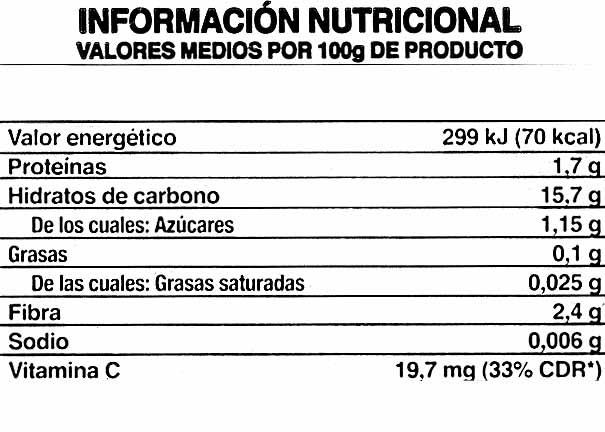 Patatas para vapor - Información nutricional - es