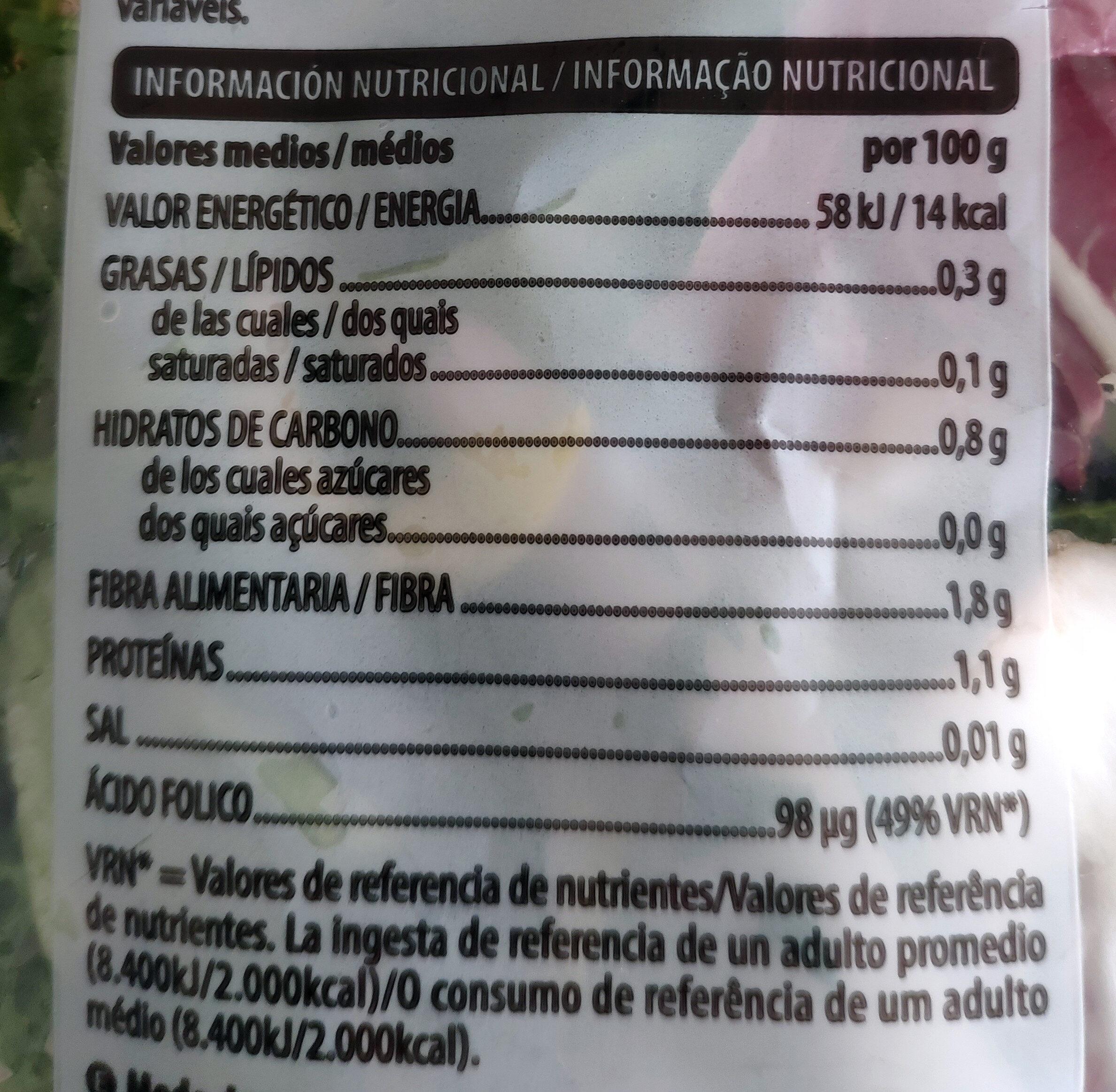 Ensalada gourmet - Informació nutricional - es