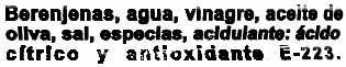 """Berenjenas encurtidas aliñadas """"Conservas García"""" - Ingrédients"""