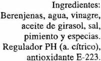"""Berenjenas encurtidas embuchadas """"Conservas García"""" - Ingredientes - es"""