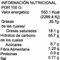 Palmeritas choco sin gluten - Información nutricional - es