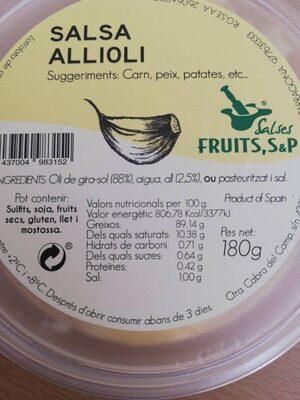 Salsa Allioli - Informació nutricional