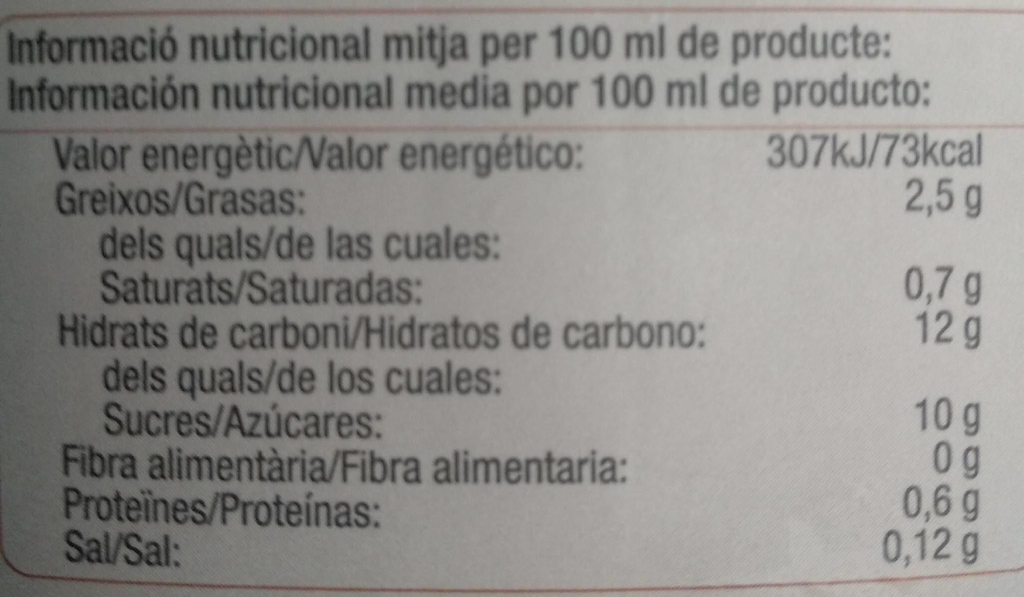 Horchata de chufa - Valori nutrizionali - es