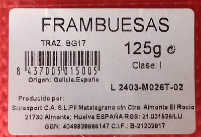 Frambuesas - Nutrition facts - es