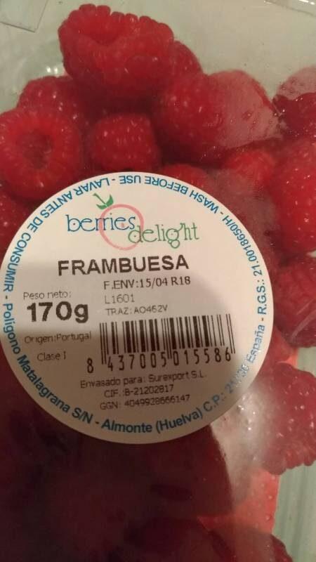 FRAMBUESA - Informació nutricional