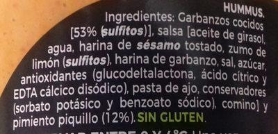 Hummus pimientos de piquillos - Ingredientes - es