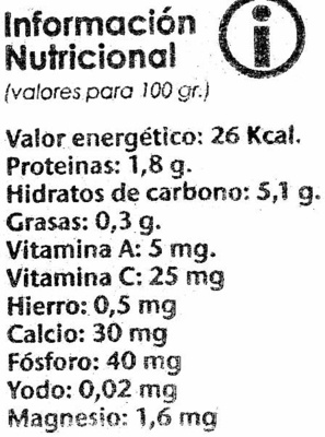 Cenolla Dulcr - Información nutricional