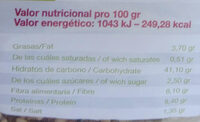 Pan Aleman Negro - Información nutricional - es