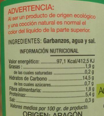 Garbanzo ecologico - Valori nutrizionali - es