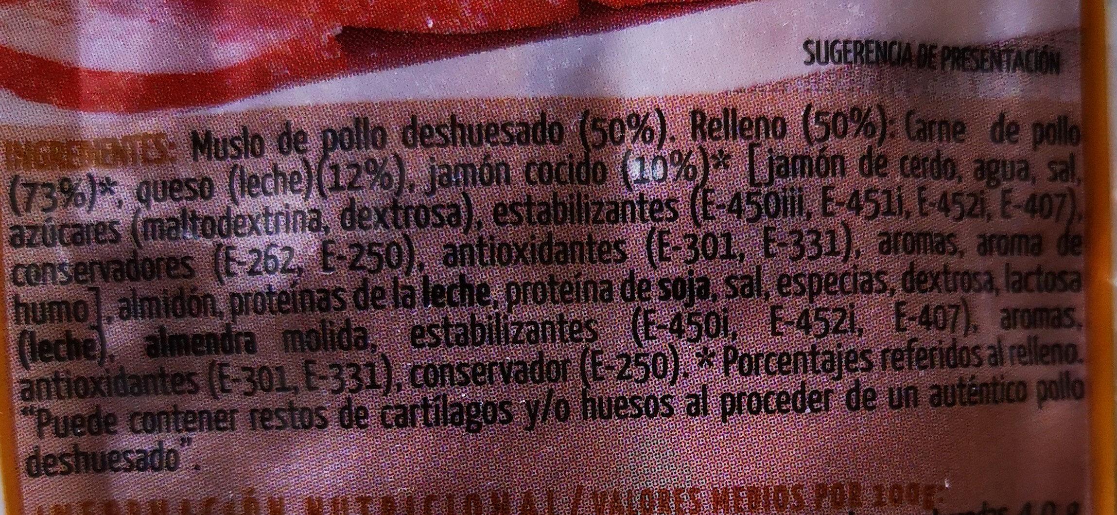 Redondo de pollo asado con jamón cocido y queso - Ingredientes - es