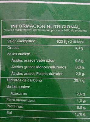 Base pizza - Información nutricional