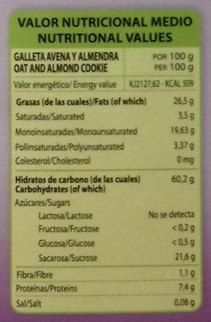 Galletas con Avena y Almendra - Información nutricional - es