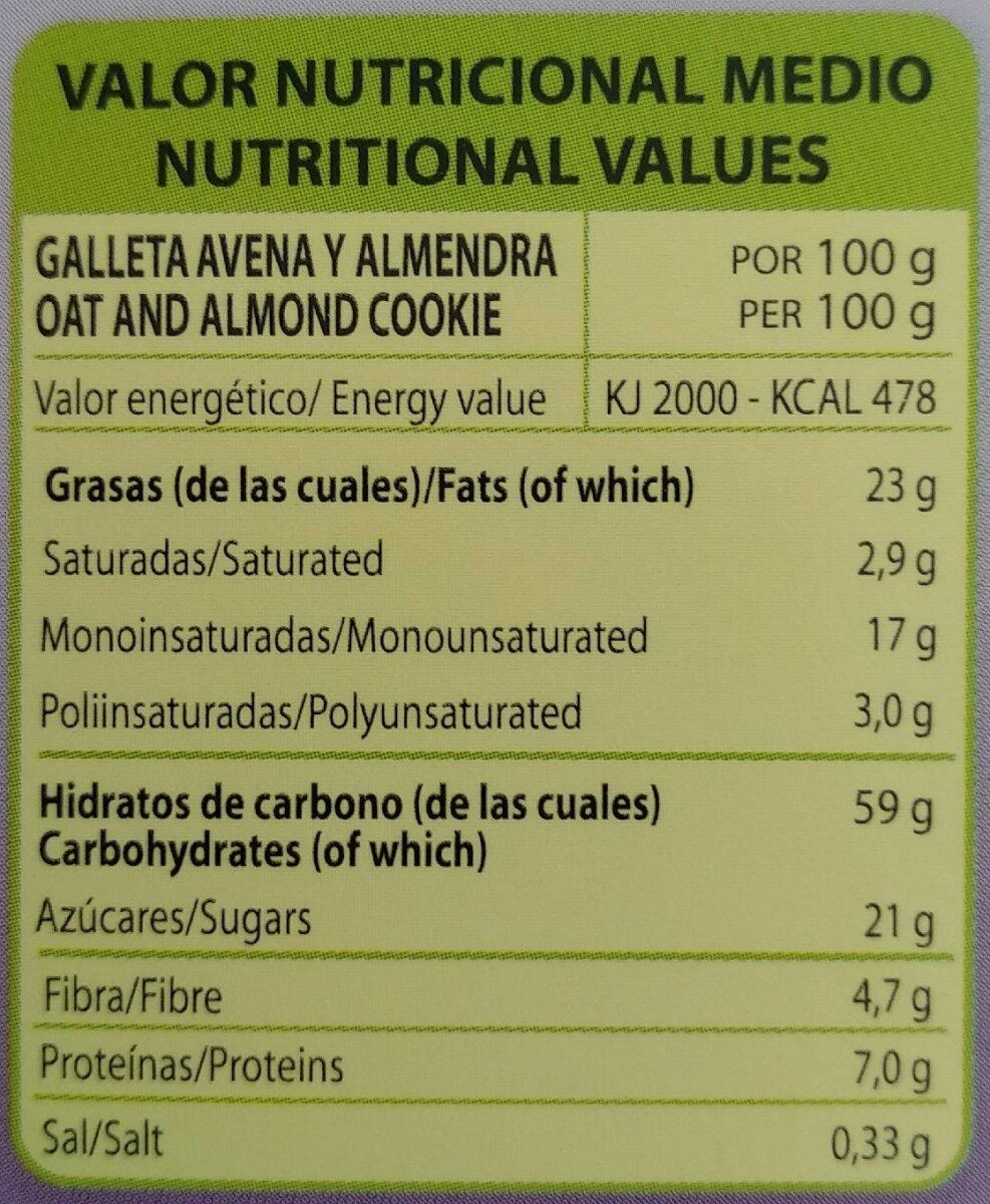 Galletas con Avena y Almendra - Nutrition facts - es