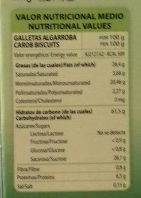 Galletas con Algarroba - Información nutricional
